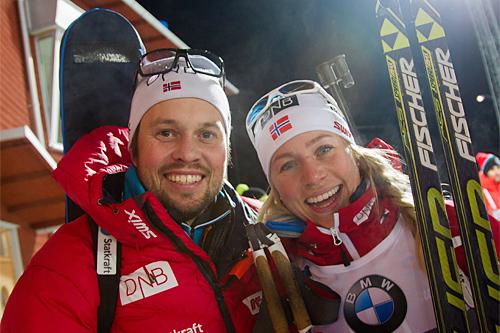 Søskenparet Stian og Tiril Eckhoff, han landslagstrener, hun i verdenstoppen. Foto: Manzoni/NordicFocus.