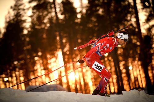 Ole Einar Bjørndalen på siste øvelse under VM i Kontiolahti 2015. Foto: Evgeny Tumashov/NordicFocus.