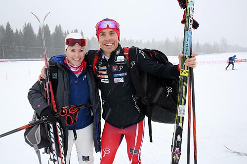 Martine Thorleifsson og Vidar Løfshus, henhodsvis sponsorsjef og landslagssjef i Norges Skiforbund, før start i FredagsBirken 2015. Foto: Birken AS.