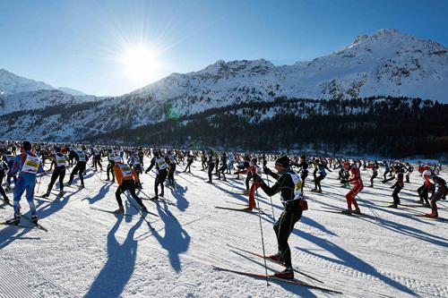 Vakre rammer i Engadin Skimarathon. Foto: Felgenhauer/NordicFocus.