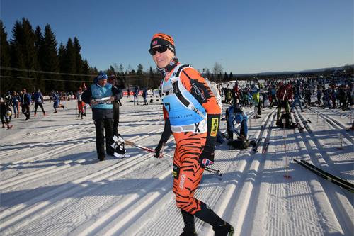 Petter Eliassen i startfeltet foran sitt rekordraske Birkebeinerrenn i 2015-utgaven. Sluttiden ble 2:19.28, ny rekord med nær 2 minutter. Foto: Birken AS.