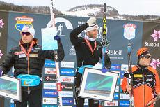 Seierspallen etter 10 kilometer klassisk under NM i Harstad 2015. Fra venstre: Didrik Tønseth (2.-plass), Martin Johnsrud Sundby (1) og Andrew Musgrave (3). Foto: Erik Borg.
