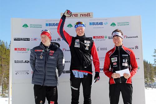 Herrepallen i Knarren Rundt 2015. Fra venstre: Erik Mysen (2. plass) Mikael Gunnulfsen (1) og Henrik Dønnestad (3). Arrangørfoto.