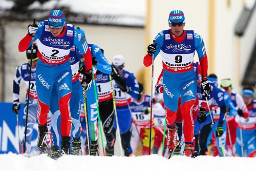 Alexander Legkov (t.v.) og Sergey Ustiugov er to av de sterke løperne som skal delta i Ugra Ski Marathon 2015. Foto: Laiho/NordicFocus.