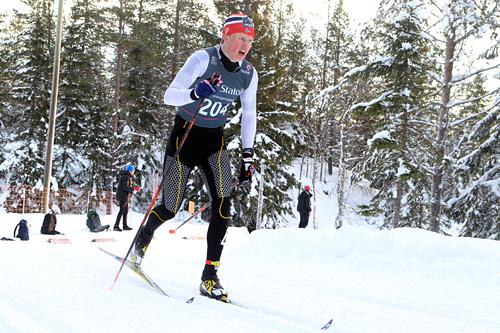 Mårten Soleng Skinstad i aksjon under Norgescupen for junior på Lygna forrige vinter. Til helgen skal seniorene ha sin Norgescup, med innlagt U23-NM, i nye løypetraseer laget for NM 2017. Foto: Erik Borg.