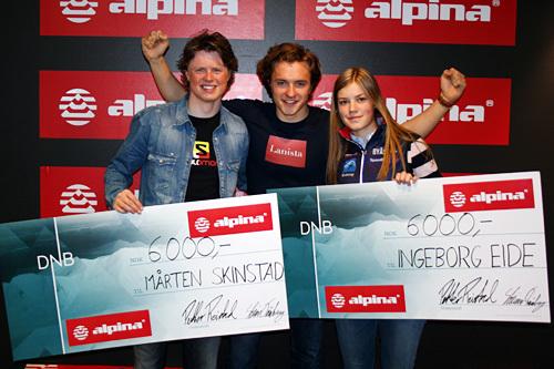 Petter Reistad (midten) er initiativtaker for stipendet Rookie of the Year. I 2015 gikk det til Mårten Soleng Skinstad og Ingeborg Eide. Foto: Stian Trømborg/Alpina.