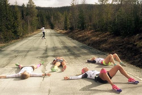Slitne løpere etter en tidligere utgave av Grovatesten i Meråker. Foto: Ove Erik Tronvoll.