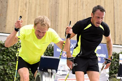 Jerry Ahrlin og Anders Aukland i stakekonkurransen i Swedemount Open. Arrangørfoto.