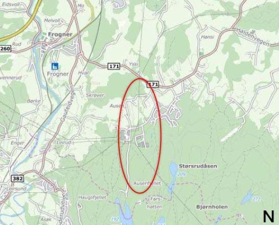 kart over frogner Ausenfjellet   varsel om oppstart av reguleringsplan   Sørum kommune kart over frogner