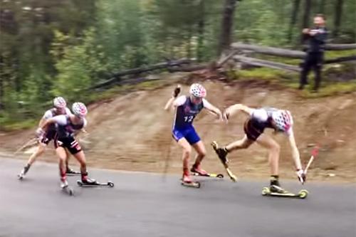 Bildeutsnitt fra video laget i etterkant av samling for regionlagene og rekruttlandslaget. Foto: YouTube/Skiforbundet.