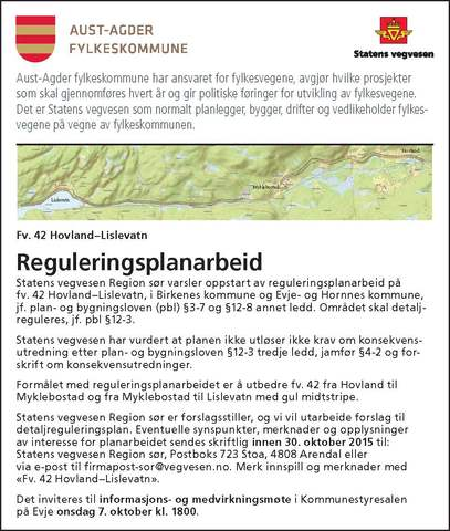 Annonse - Reguleringsplanarbeid Fv. 42 Hovland - Lislevatn.jpg