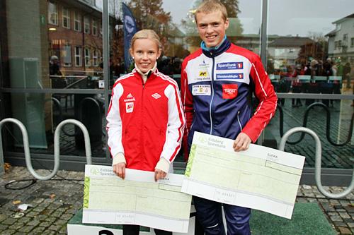 Pernille Karlsen Antonsen og Markus Holter løp rekordfort i Høytorp Opp 2015 og sikret seg hver sin seier. Arrangørfoto.