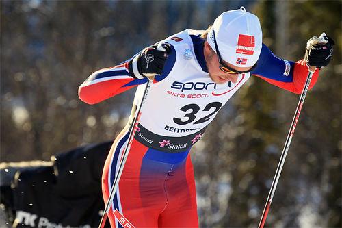 Even Northug gikk ankeretappen for Strindheims førstelag. Her i sprintprologen på Beitostølen. Foto: Erik Borg.