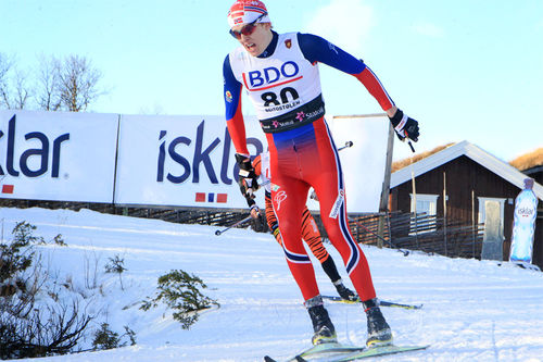 Eirik Mysen på vei mot 9. plass på 15 km klassisk i Beitosprinten 2015. Foto: Erik Borg.