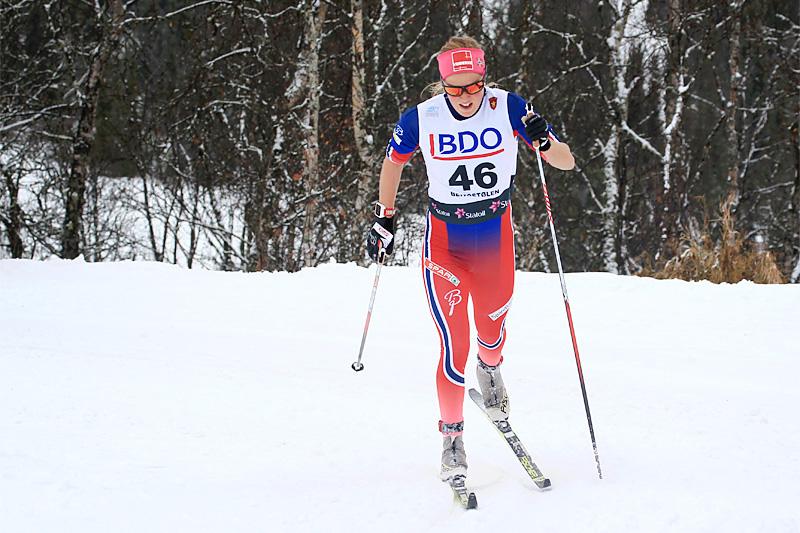 Kari Øyre Slind underveis i Beitosprinten. Foto: Erik Borg.