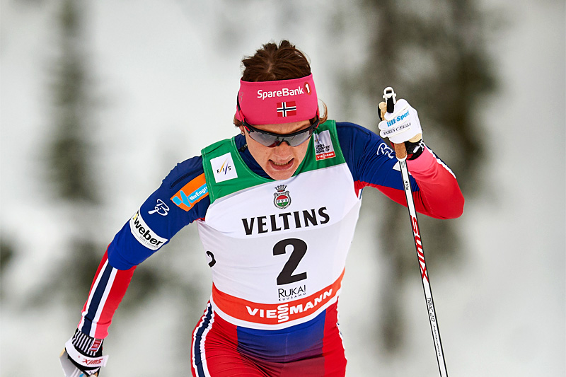 Maiken Caspersen Falla underveis i sprintprologen i Kuusamo og Ruka 2015. Foto: Felgenhauer/NordicFocus.