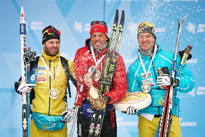 Pallen i fjorårets La Sgambeda Classic. Fra venstre: Johan Kjølstad (2. plass), Anders Aukland (1) og Øystein Pettersen (3). Foto: Felgenhauer/NordicFocus.