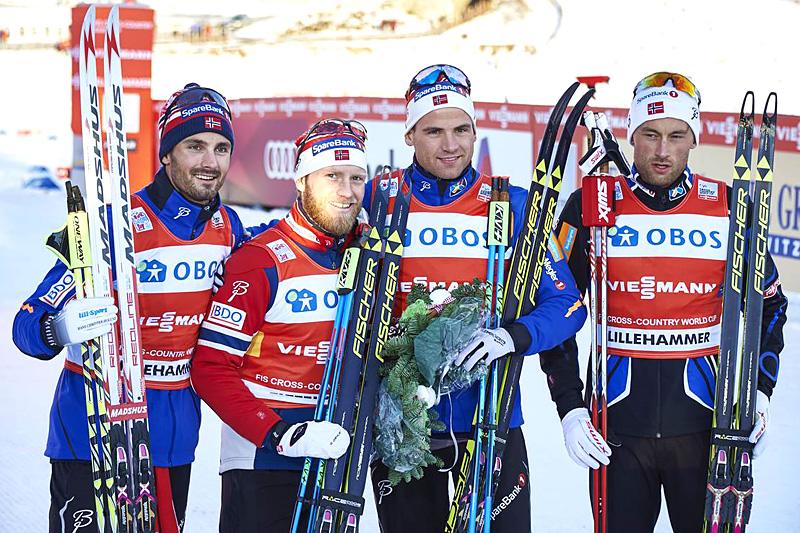 Norges førstelag som vant verdenscupstafetten på Lillehammer 2015. Fra venstre: Hans Christer Holund (2. etappe), Martin Johnsrud Sundby (3), Niklas Dyrhaug (1) og Petter Northug (4). Foto: Modica/NordicFocus.