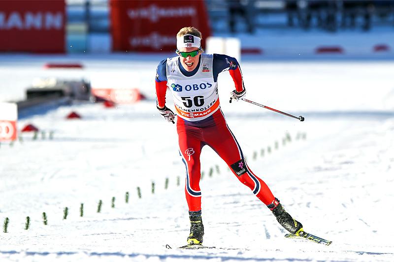 Martin Løwstrøm Nyenget under femmila i Holmenkollen forrige sesong. Foto: Laiho/NordicFocus.