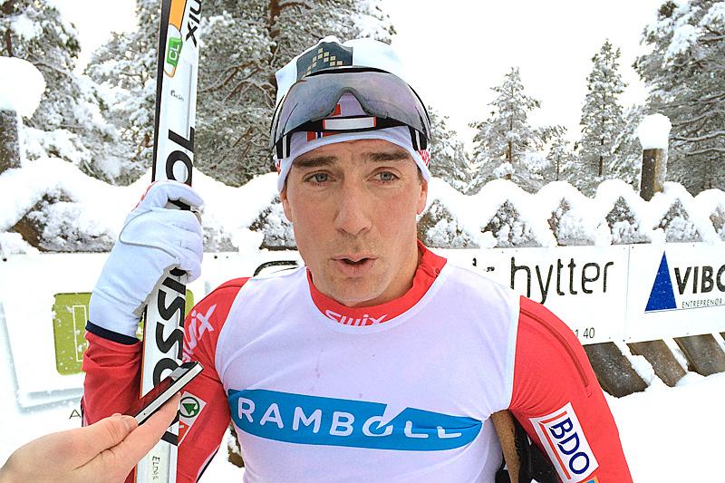 Eldar Rønning etter seier i fjorårets Rindalsrenn. Arrangørfoto.