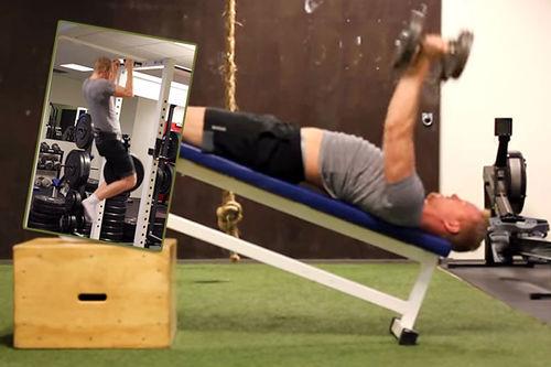 Simen Aaslund viser noen gode styrkeøvelser for langrennsløpere.