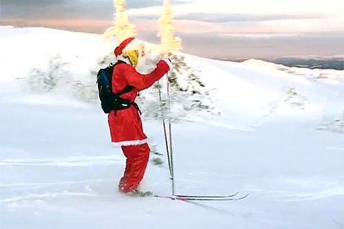 Julenissen på blanke ski. Foto: Instagram.com/teamunitedbakeries.