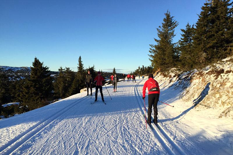 Lite snø i fjellet, men allikevel flotte forhold i løypene til Øyer Turskiløyper ved Hafjell og Mosetertoppen jula 2015. Foto: Privat.