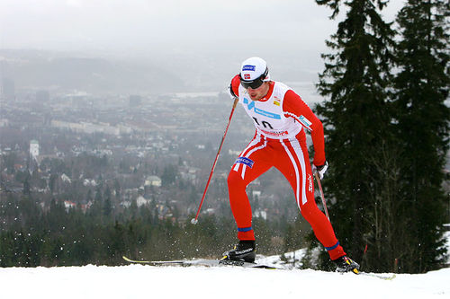 Petter Northug som ung senior, kun 22 år i alder, under 5-mila i verdenscupen i Holmenkollen tilbake i 2008. Foto: Manzoni/NordicFocus.