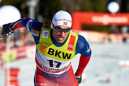 Petter Northug i innbitt kamp mot sekundene under Tour de Ski 2016. Foto: Felgenhauer/NordicFocus.