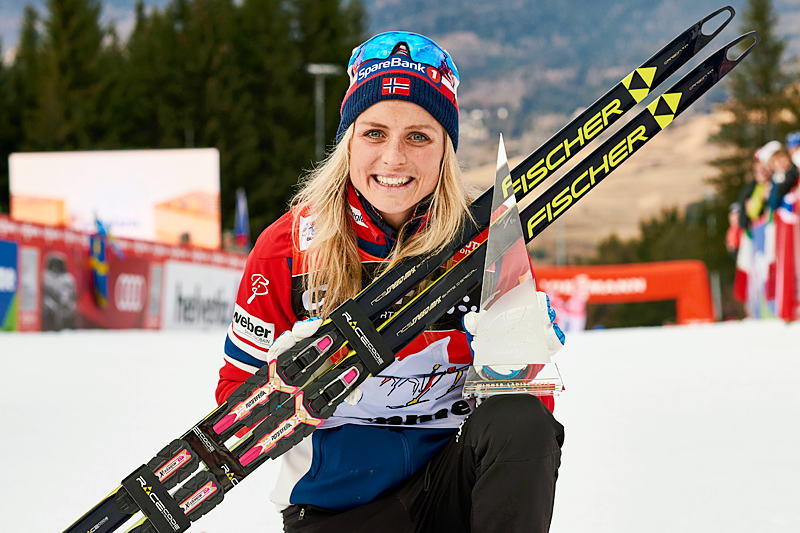 Therese Johaug var en av attraksjonene som manglet i Tour de Ski denne sesongen. Her fra da hun vant Touren i 2016. Foto: Felgenhauer/NordicFocus.