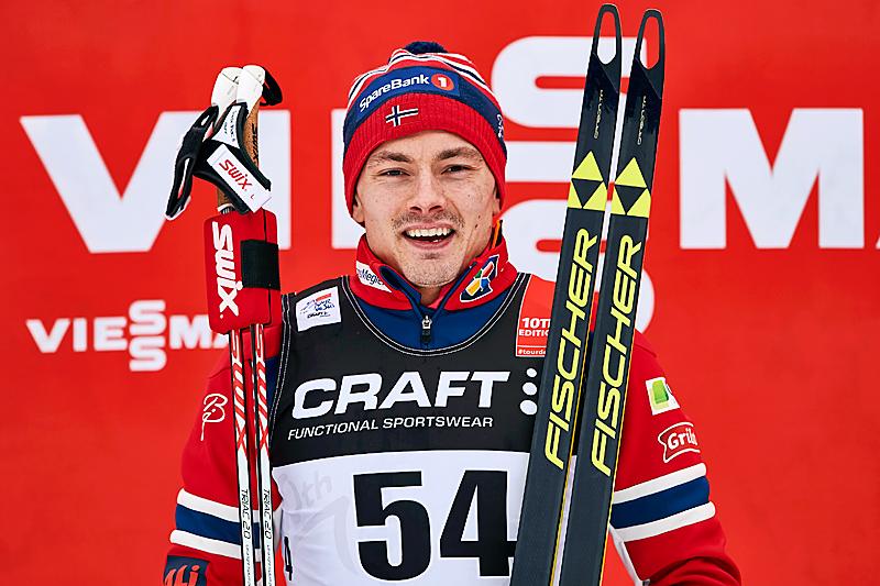 Finn Hågen Krogh etter sin seier på 10-kilometeren i Toblach, 6. etappe i Tour de Ski 2016. Foto: Felgenhauer/NordicFocus.