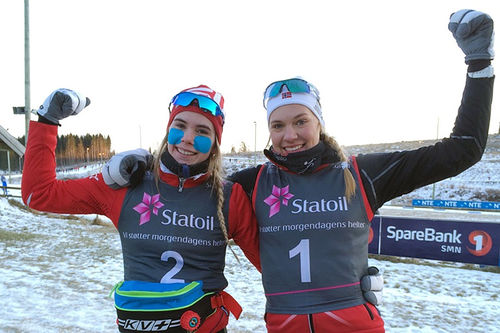 To jenter som har satt NTG Geilo på kartet de siste årene. Fra venstre; Emma Skjoldli og Ragnhild Rønning som kapret de to første plassene i et norgescuprenn en tidligere vinter. Foto: NTG Geilo.