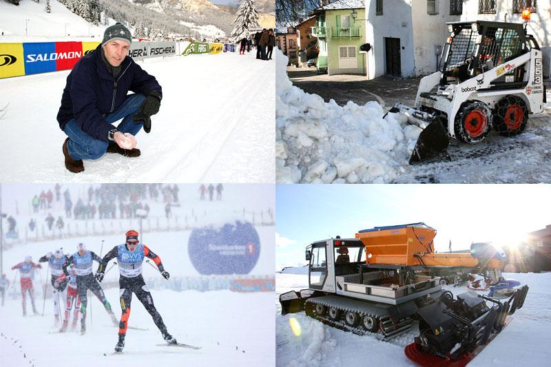 Gunnar Samuelsen føler på snøen i en tidligere utgave av Marcialonga, gravemaskinen er også derifra, løypemaskinen salter sporet på Sognefjellet og Andrew Musgrave inn til NM-gull i sprint i snøføyka på Lillehammer. Foto: Geir Nilsen/Langrenn.com.