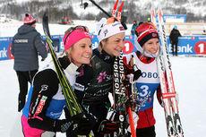 Medaljevinnerne på 10 kilometer klassisk under NM i Tromsø 2016. Fra venstre: Mari Eide (2.-plass), Astrid Uhrenholdt Jacobsen (1) og Thea Krokan Murud (3). Foto: Erik Borg.