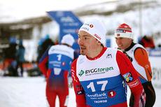 Finn Hågen Krogh gikk inn til gull på NM-sprinten i Tromsø 2016. Foto: Erik Borg.