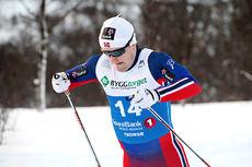 Sindre Bjørnestad Skar feier inn til beste prologtid og blir senere sølvvinner på sprinten under NM i Tromsø 2016. Foto: Erik Borg.