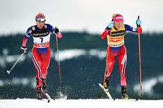 Heidi Weng og Therese Johaug under verdenscupen på Lillehammer i desember 2015. Foto: Felgenhauer/NordicFocus.