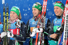 Hemings gulljenter på stafetten under NM i Tromsø 2016, (f.v.) Karianne Jevne, Astrid Uhrenholdt Jacobsen og Fanny Horn Birkeland. Foto: Erik Borg.