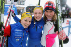 Berthe Anette Svenkerud (f.v.), Marit Katarina Robertsen og Silje Theodorsen etter fjerdeplassen på NM-stafett i Tromsø 2016. Foto. Erik Borg.