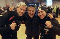Ole-Marius Bach (f.v.), Daniel Myrmæl Helgestad og Eirik Lorentsen gikk Henning inn til det som først var fjerdeplass under NM-stafetten i Tromsø, men som ble endret til sjetteplass grunnet tidsstraff for skøytetak i klassiskdelen. Foto: Erik Borg.