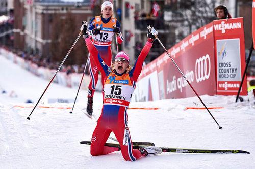 Maiken Caspersen Falla slo tilbake etter lang sykdomsperiode og toppet verdenscupsprinten i Drammen 2016. Foto: Felgenhauer/NordicFocus.