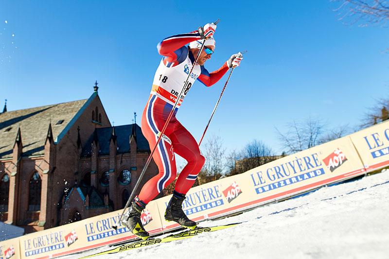 Petter Northug ute i prologen under verdenscupsprinten i Drammen 2016. Det hele endte til slutt med seier. Foto: Felgenhauer/NordicFocus.