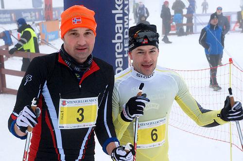 Per-Christian Lysaker Torgersrud og Arne Post nr. 1 og 2 i Stenfjellrunden 2016. Blanke ski og ny rekord, første gang under 2 timer. Foto: Roar Jødahl.