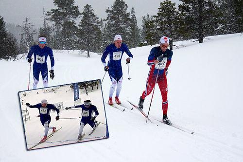 Erik Telebond, Martin Riseth og Magnus Stensås kjemper om seieren i Markatrimmen 2016. Foto: Line Selnes. Innfelt bilde viser spurten mellom Riseth og Stensås.