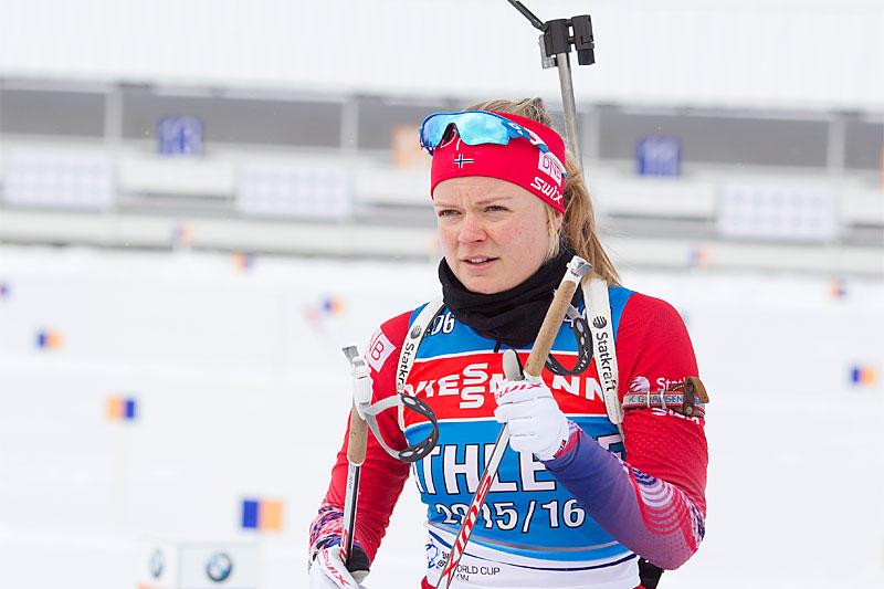 Kaia Wøien Nicolaisen i Presque Isle og USA hvor verdenscupen i skiskyting er innom vinteren 2016. Foto: Manzoni/NordicFocus.