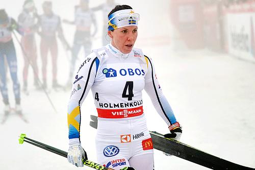 Charlotte Kalla etter sjetteplassen på 30 km klassisk i Holmenkollen 2016. Foto: Felgenhauer/NordicFocus.