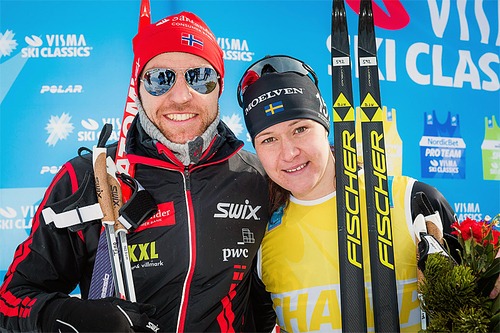 Tord Asle Gjerdalen og Britta Johansson Norgren, vinnerne av Toblach-Cortina 2016. Foto: Magnus Östh/Visma Ski Classics.