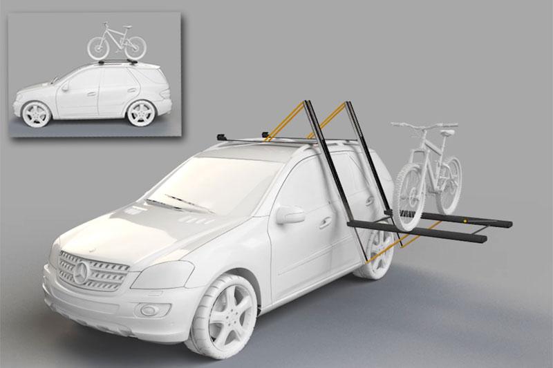 Takstativ for bil - The Droprack - Her med sykkel. Foto: Dropracks.