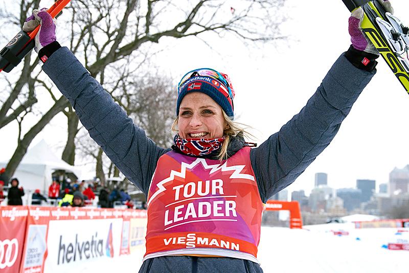 Therese Johaug tok over sammenlagtledelsen i Ski Tour Canada 2016 etter en suveren seier på fellesstarten i Montreal som var 2. etappe. Foto: Felgenhauer/NordicFocus.