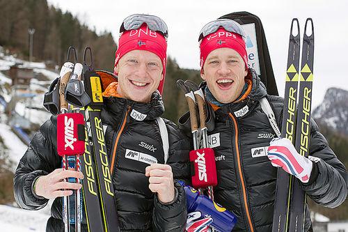 Brødrene Johannes Thingnes Bø (t.v.) og Tarjei Bø. Foto: Manzoni/NordicFocus.